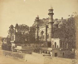 View of the Jami Masjid with the Fort in the background, Gwalior